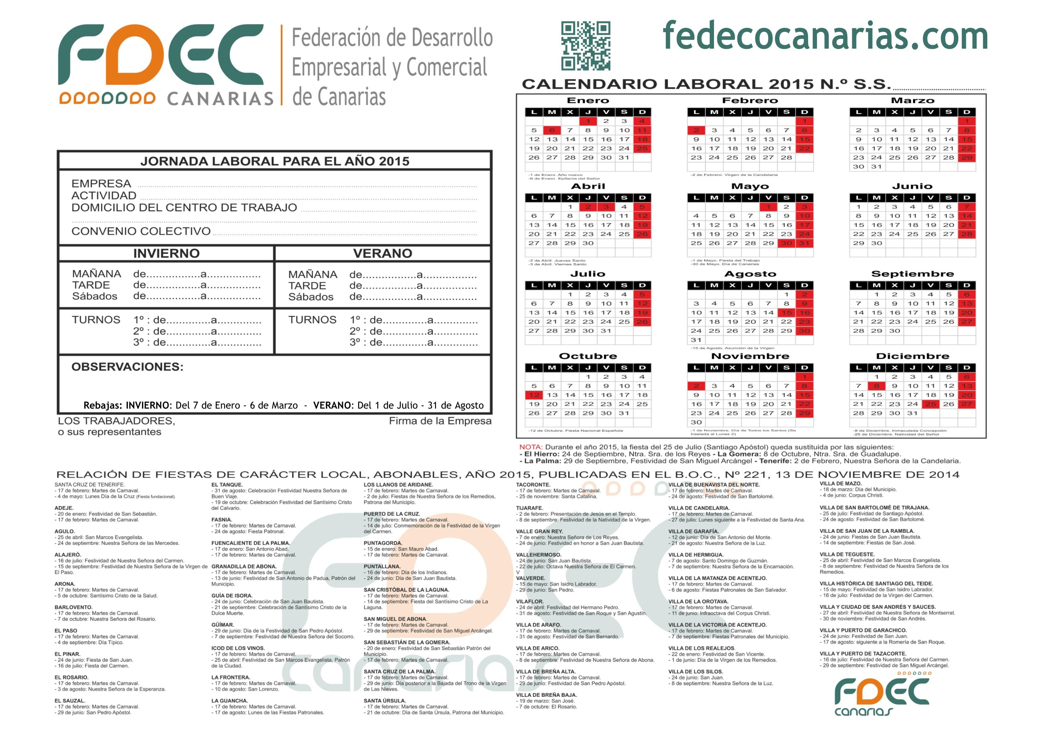 Calendario Laboral 2015 FDEC