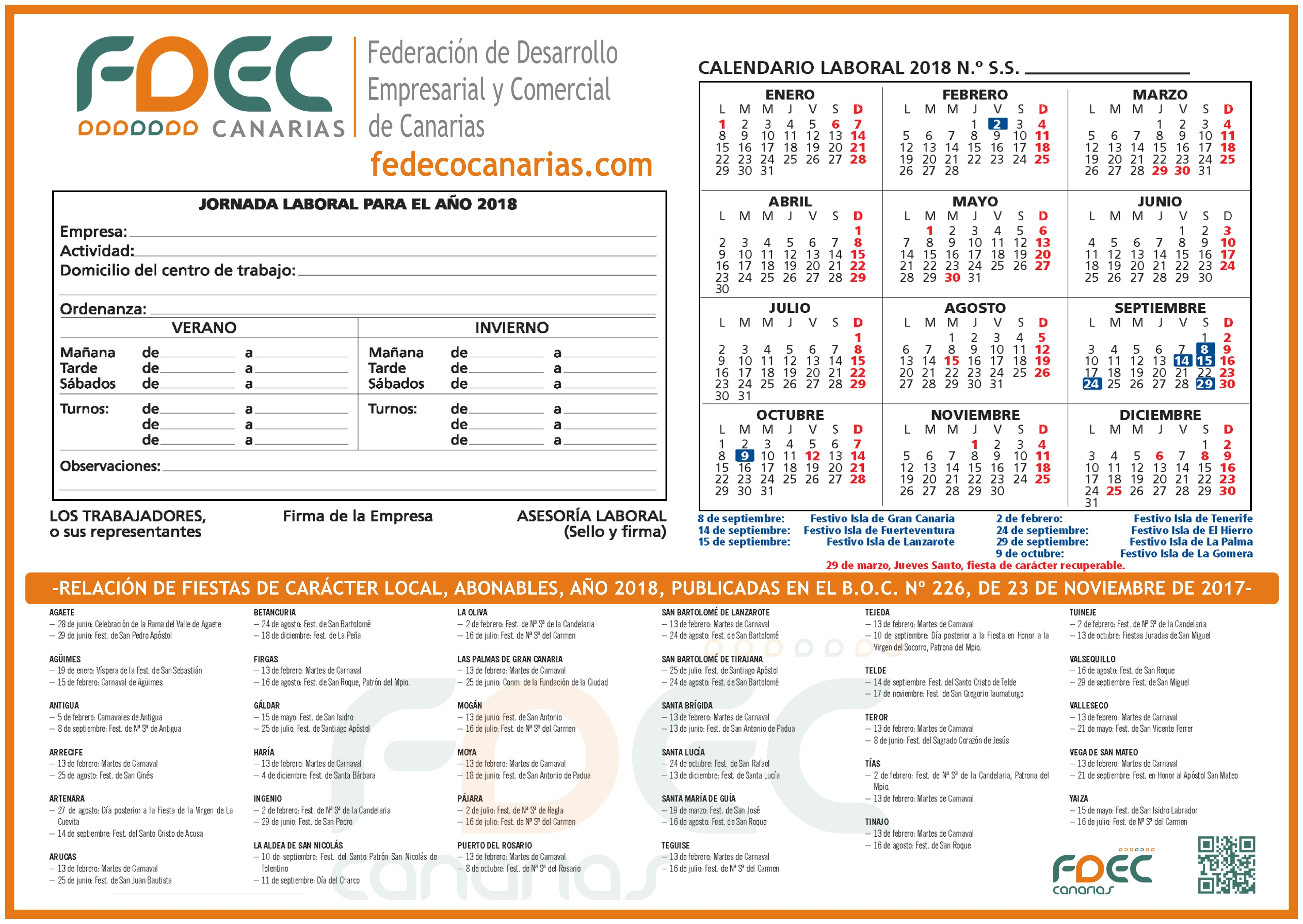 Calendario Laboral FDEC - GRAN CANARIA 2018