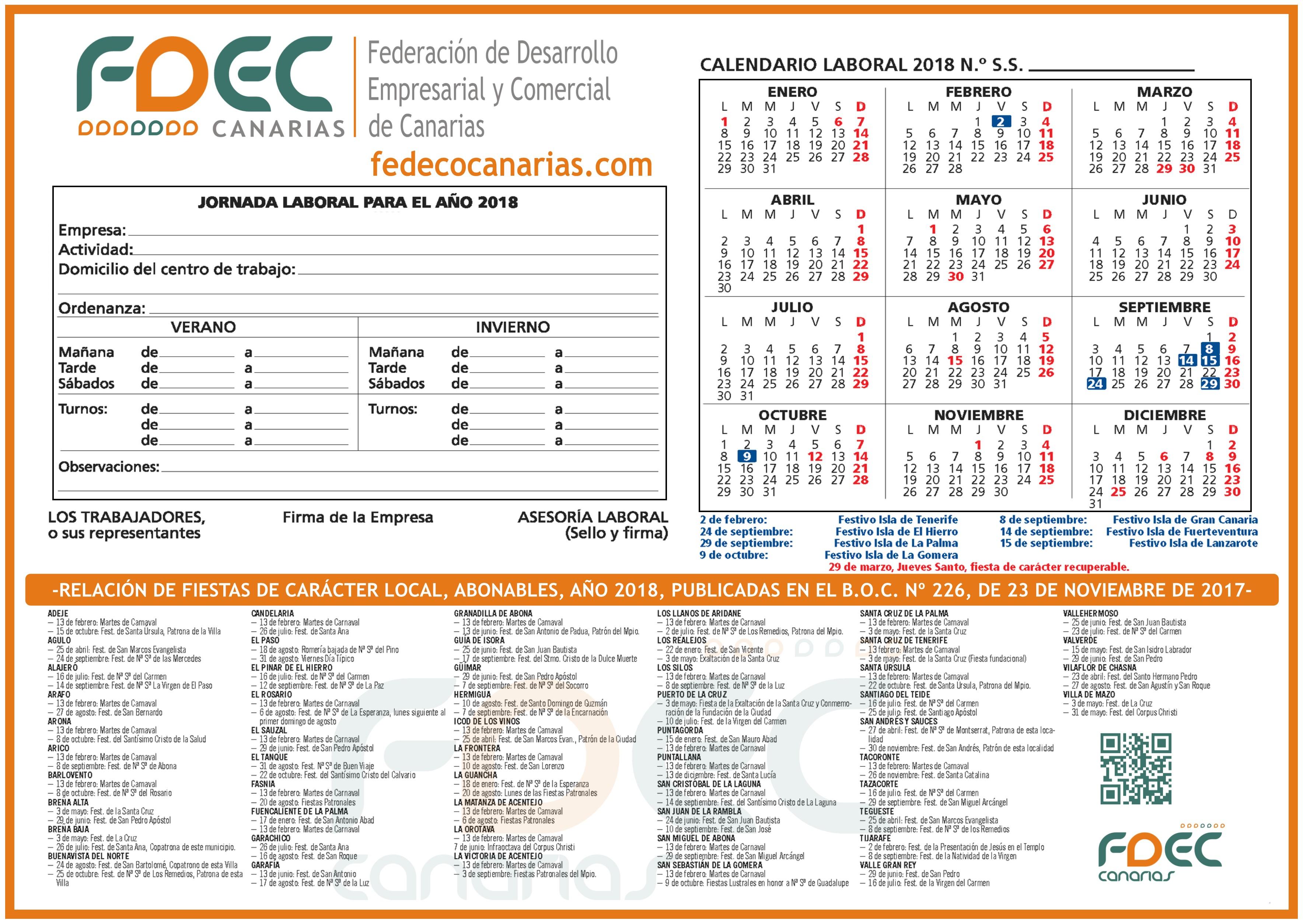 Calendario Laboral FDEC -TENERIFE 2018