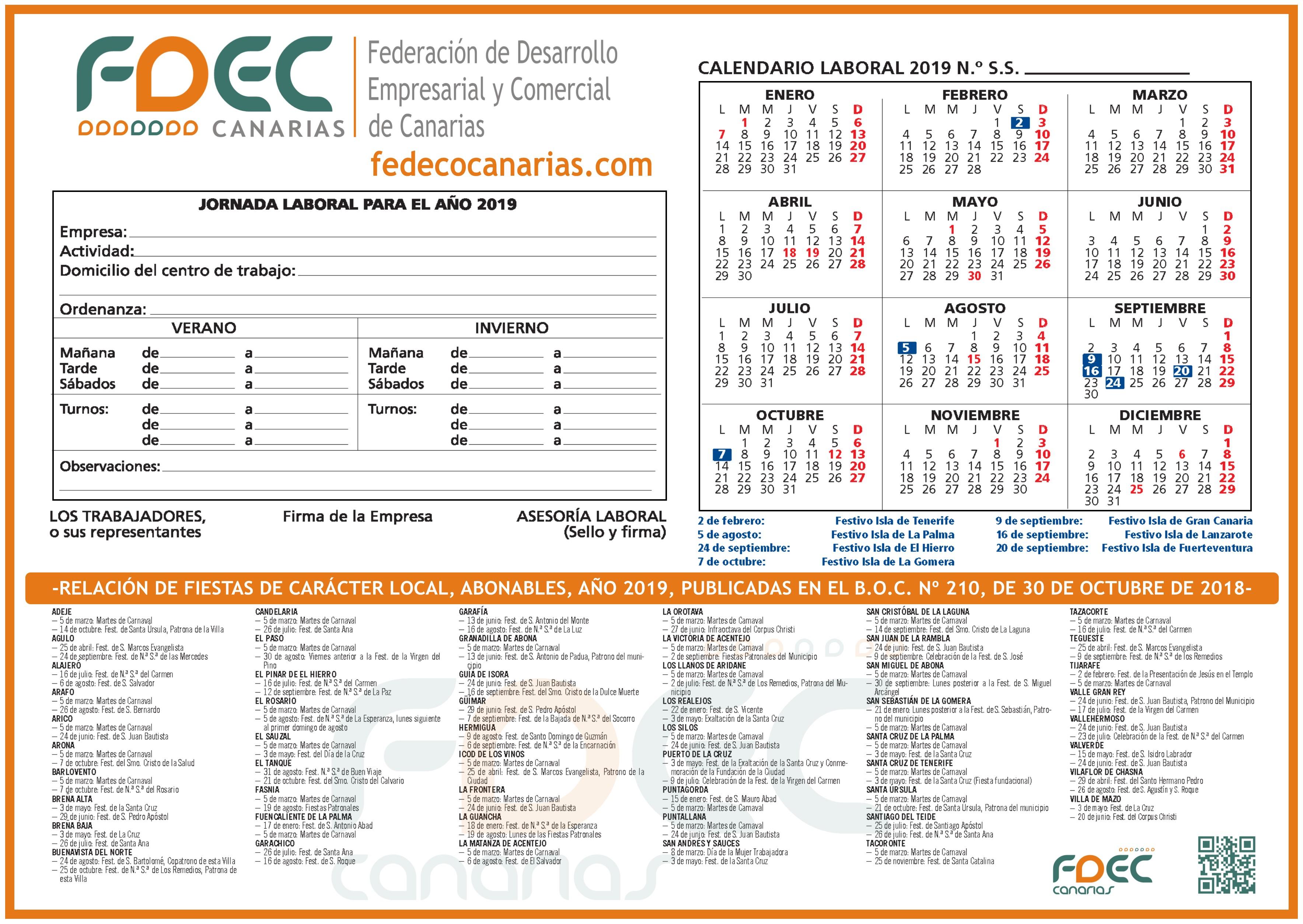 Calendario Laboral FDEC -TENERIFE 2019